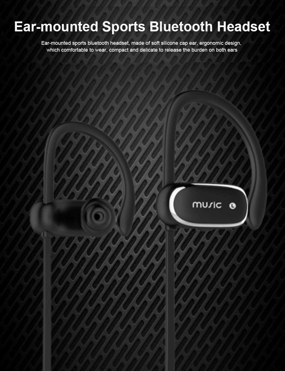 Ear-mounted Sports Headphones, Wireless Bluetooth Headsets Compatible with PC, BOOK, PAD, PHONE 0
