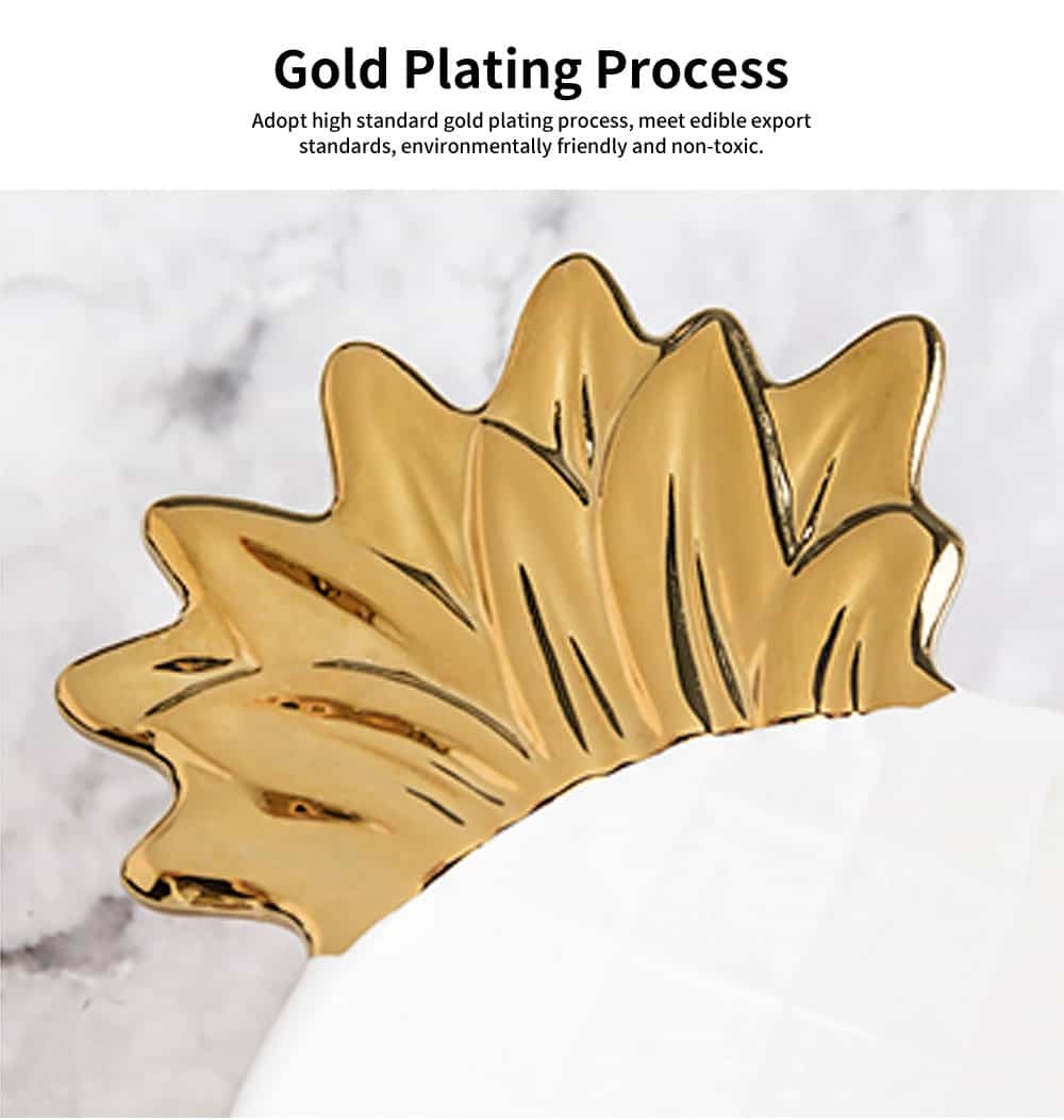 Gold-Plated Ceramic Pineapple Dishes, Nordic Jewelry Pendulum Tableware, Creative Household Plates 4
