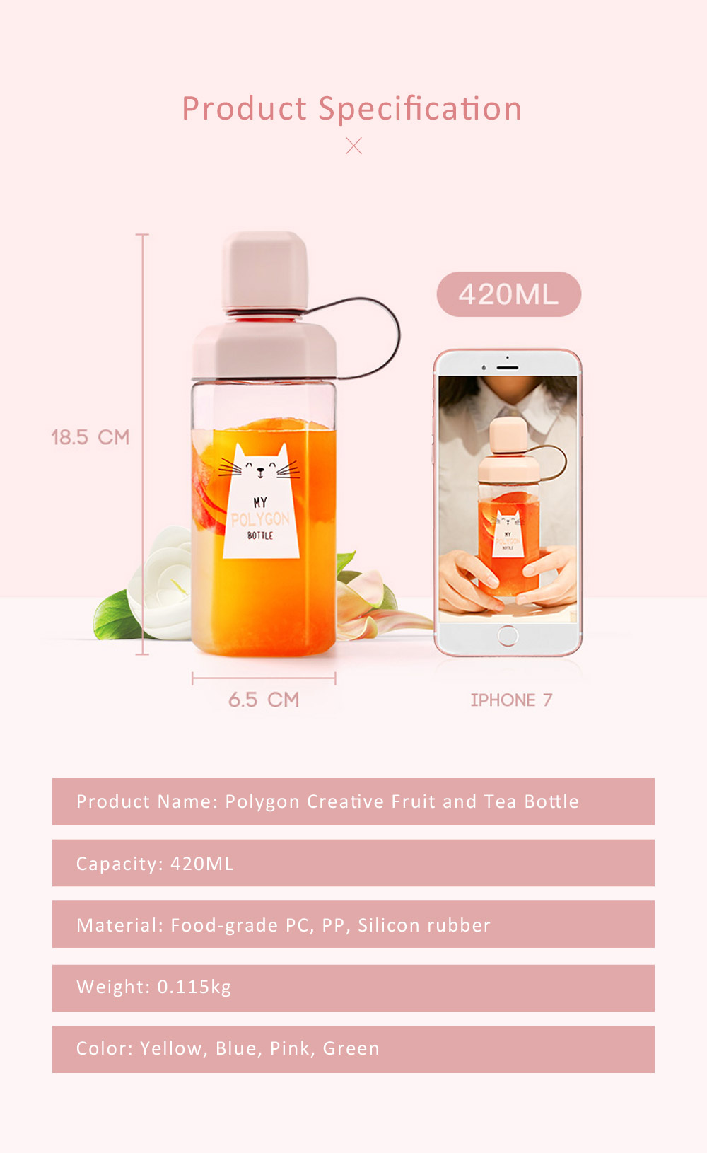 Plastic Water Bottle for Students, Girls, Children, Leakproof Drinking Bottle with Light Weight, Portable Water Bottle for Outdoors, Drinking Bottle with Cute Patterns 6