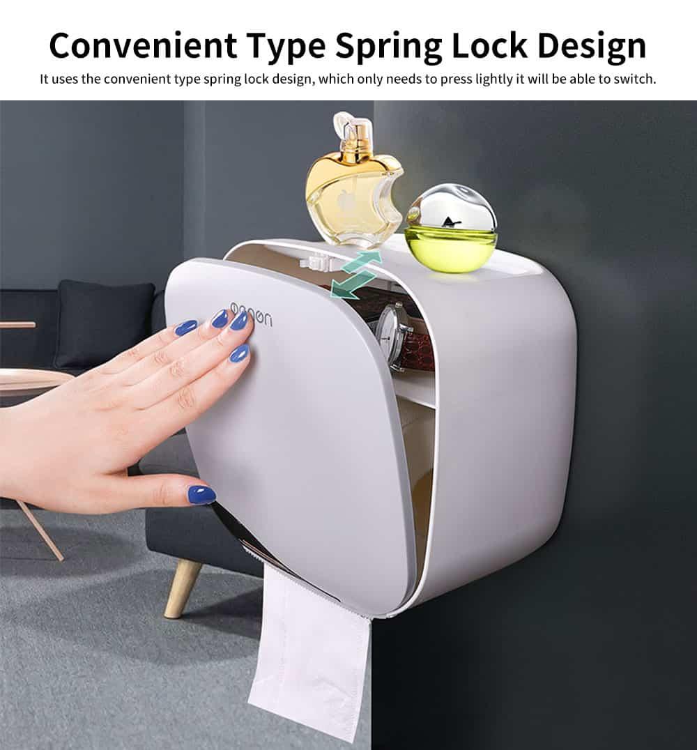 Bathroom Tissue Box, Punch-free Roll Paper Storage Box, with Convenient Type Spring Lock Design 1