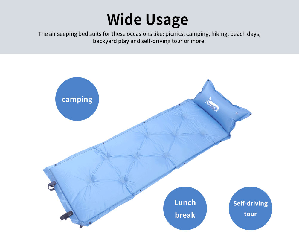 Automatic Inflatable Sleeping Bag with Pillows, Picnic Camping Essential Sleeping Bed 4