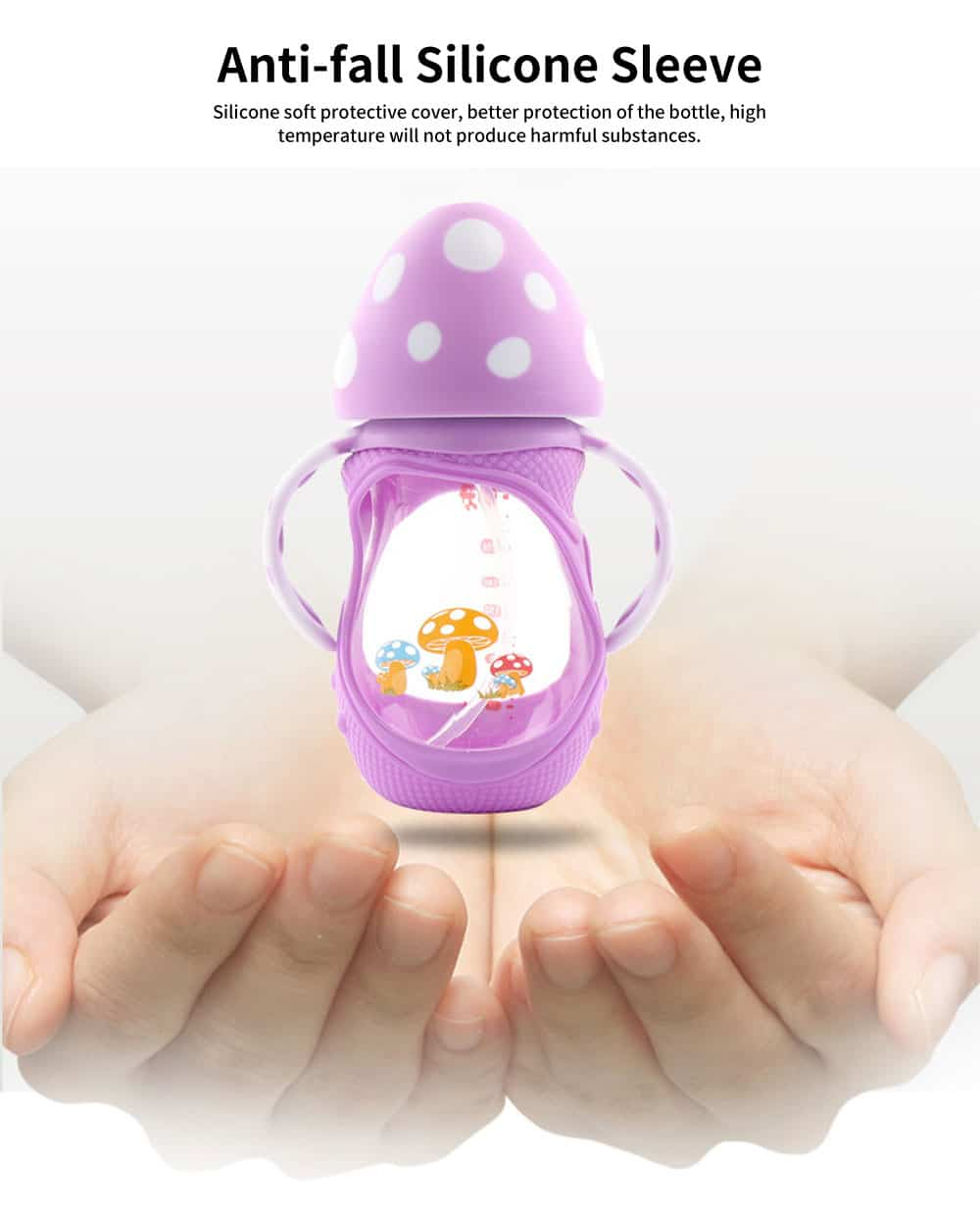 Wide-Bore Glass Bottle, Anti-Drop Silicone Sleeve Mushroom Cover Bottle, Anti-Flatulence Baby Bottle with Handle 1