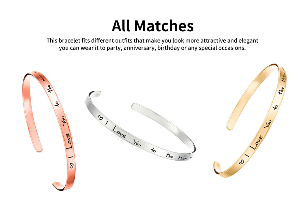 Unisex Bracelet Lady Simple Lettering Plated Stainless Steel Bangle Fashion Jewelry Accessories Elegant Lover Bracelets Valentines Gift For Girlfriend Boyfriend 2