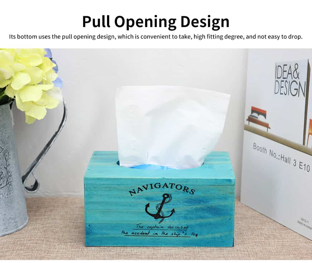 Environmentally Friendly Ink Printing Vintage Wood Tissue Box, Wooden Paper Towel Storage Container, Home, Office, Shop Essential 3