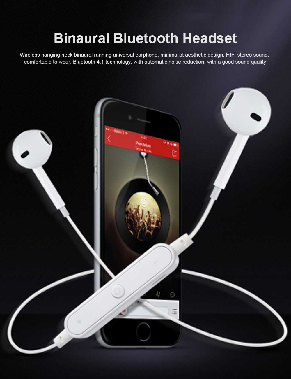 Binaural Running Universal Earphone, Wireless Hanging Neck Earphone, Charging Bluetooth Earphone 0