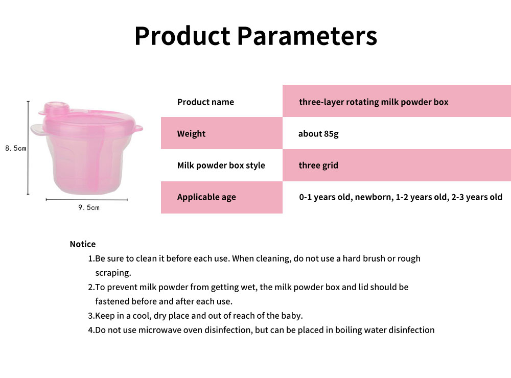 Infant Milk Powder Box, Children's Revolving Milk Powder Box, Three-Layer Snack Storage Box 6