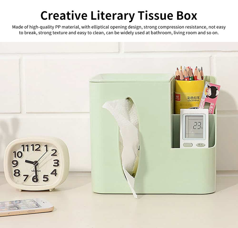 Environmental Protection Storage Tissue Box, Creative Literary Tissue Box, with Elliptical Opening Design 0