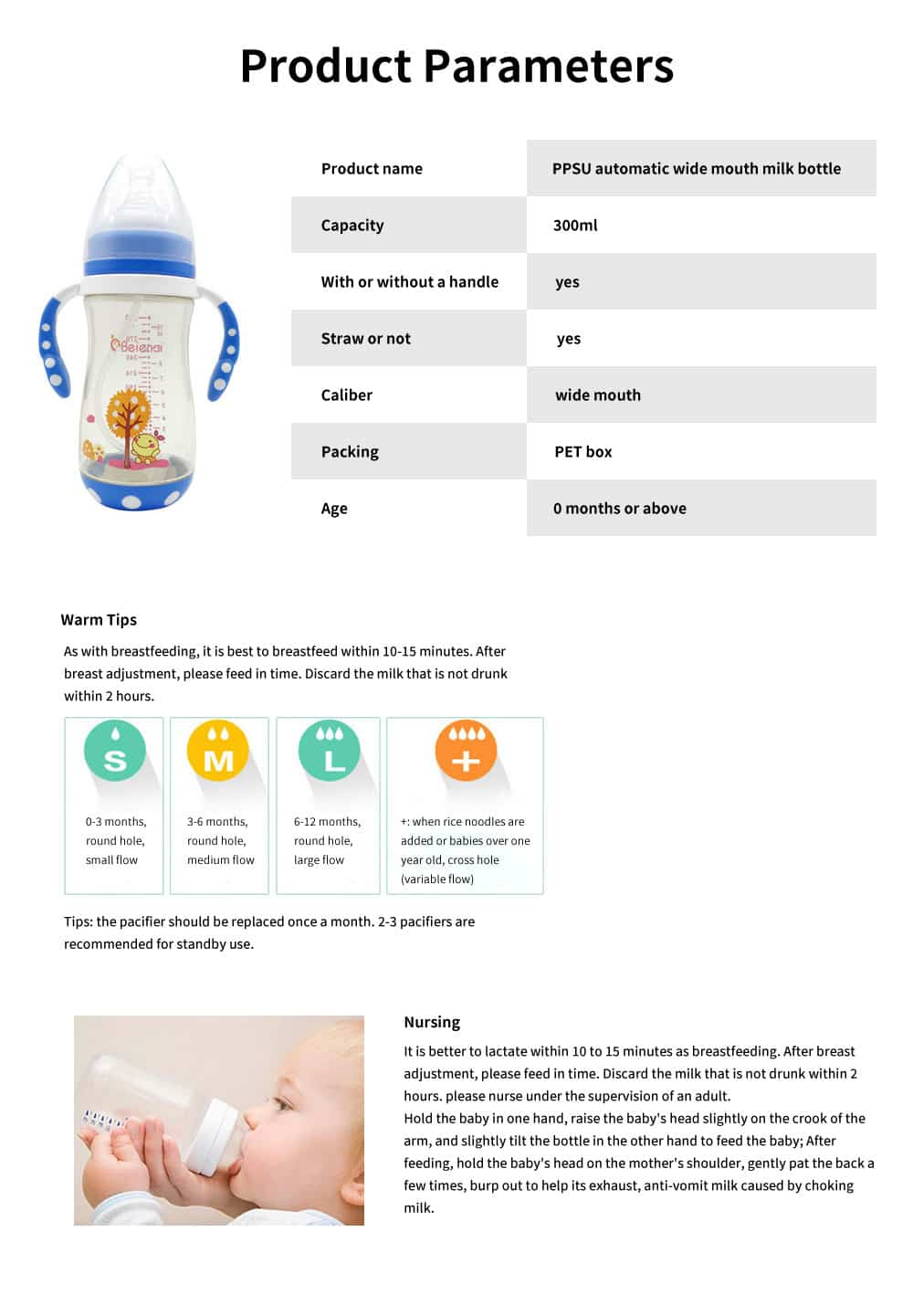 300ml Baby Bottle with Handle, Wide Diameter PPSU Baby Bottle, Anti-dropping and Anti-flatulence Baby Bottle 6