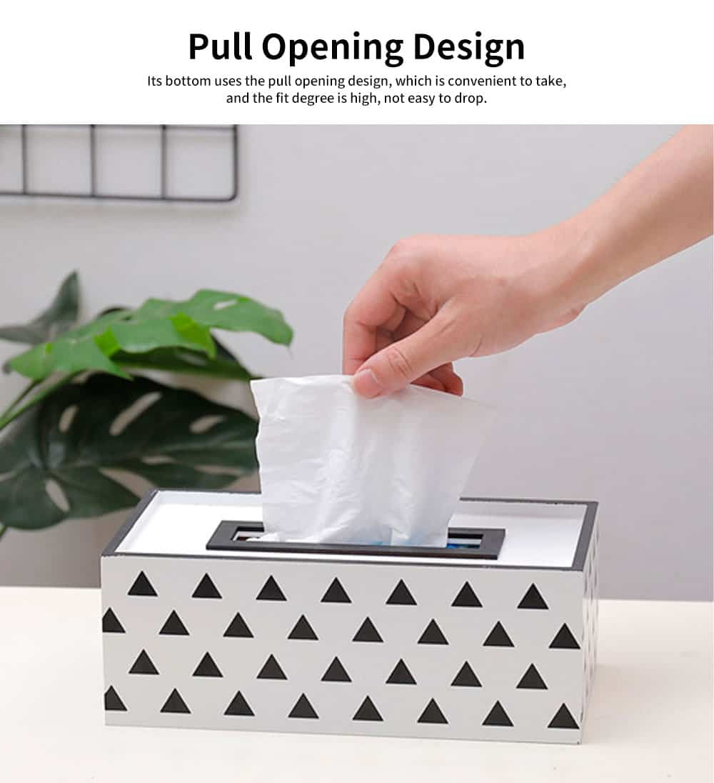 Nordic Simple Style Box, Wooden Paper Towel Storage Container, with Opening to Pull Design and Beautiful Printing 1