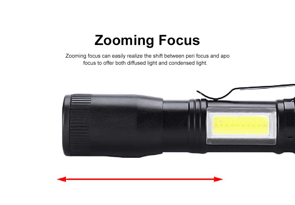 Mini Flash Torch for Outdoor Lighting LED Strong Light AA Battery Q5 Zooming Pen Clip COB Working Light Sidelight Flashlight 6