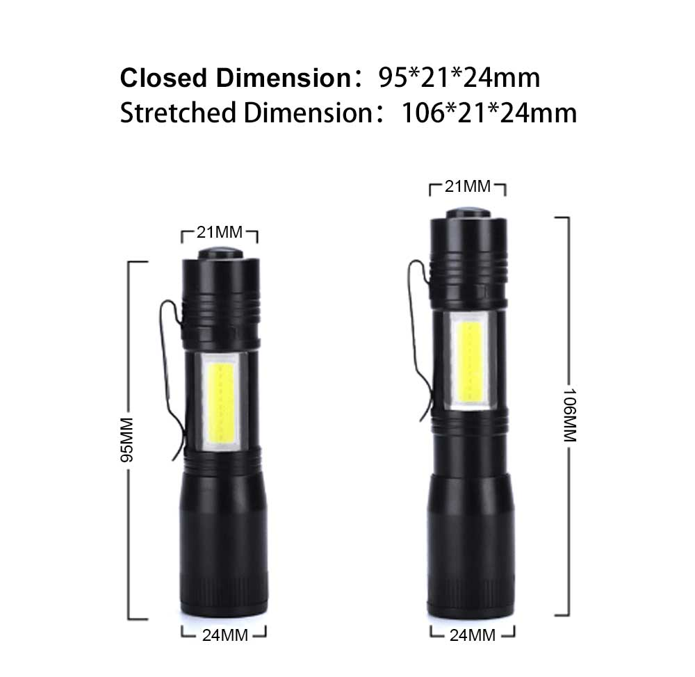 Mini Flash Torch for Outdoor Lighting LED Strong Light AA Battery Q5 Zooming Pen Clip COB Working Light Sidelight Flashlight 10