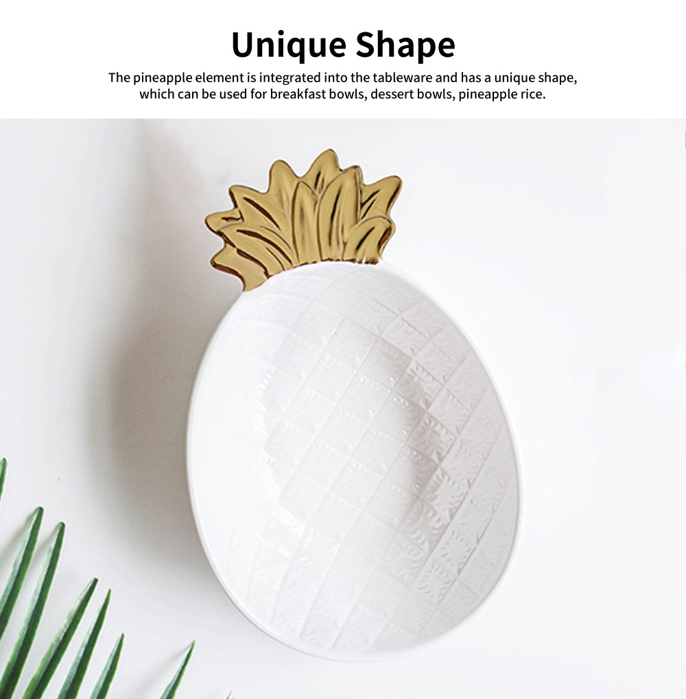 Gold-Plated Ceramic Pineapple Dishes, Nordic Jewelry Pendulum Tableware, Creative Household Plates 1