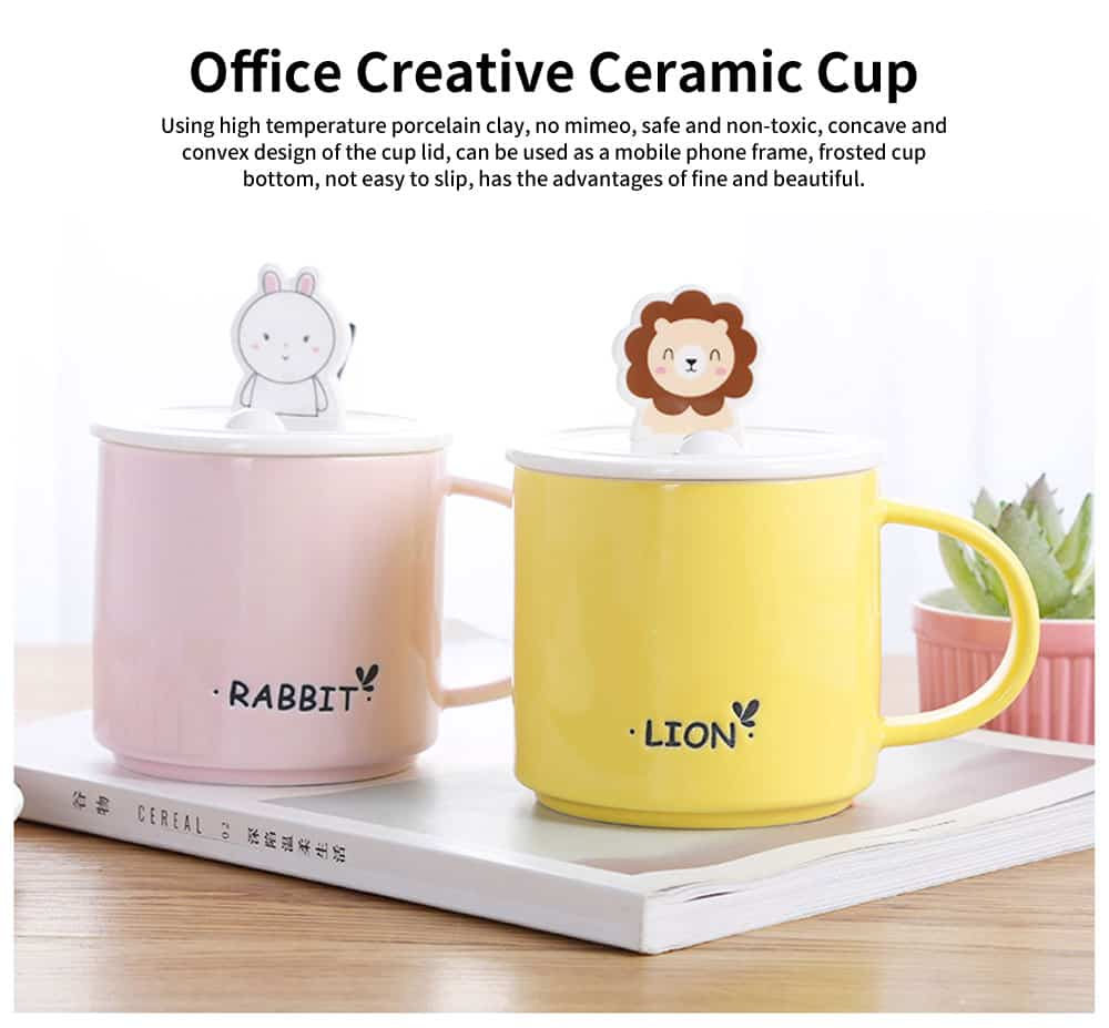 Office Creative Ceramic Cup, Ladies Cup with Spoon Cover, Home Milk Breakfast Coffee Cup 0