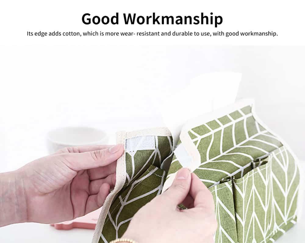 Cotton Linen Paper Towel Box, Garden Wind Multifunctional Paper Towel Storage Container, with Waterproof Layer Design 3