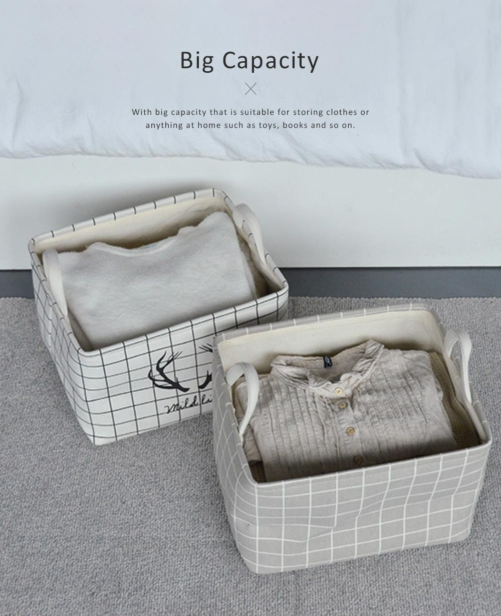 Canvas Storage Box, Foldable Storage Box for Toys, Kids Room, Clothes, Thickened Fabric Organizer with Handle 4