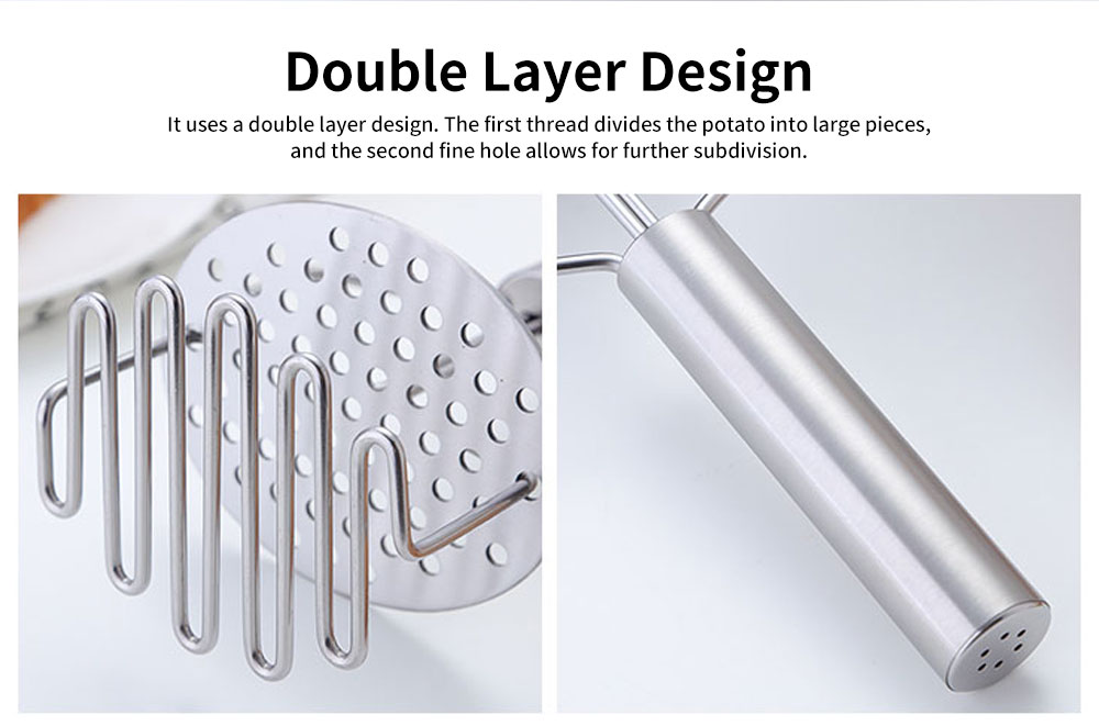 Double Layers Stainless Steel Pressing Potato Machine, Household Creative Fruit Mud Presser with Built-in Strong Spring 3