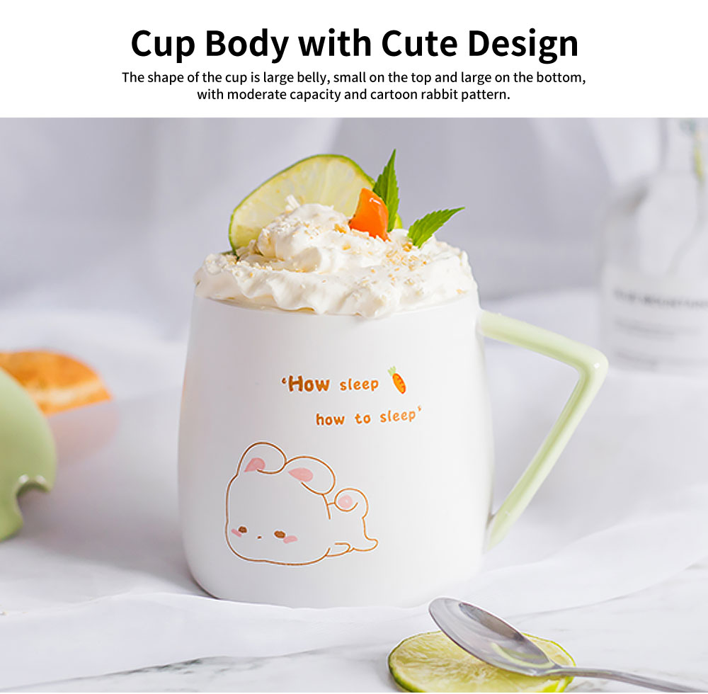 Cute Rabbit Coffee Cup, Korean Version with Cover Scoop Mug, Creative Trend Ceramic Cup 3