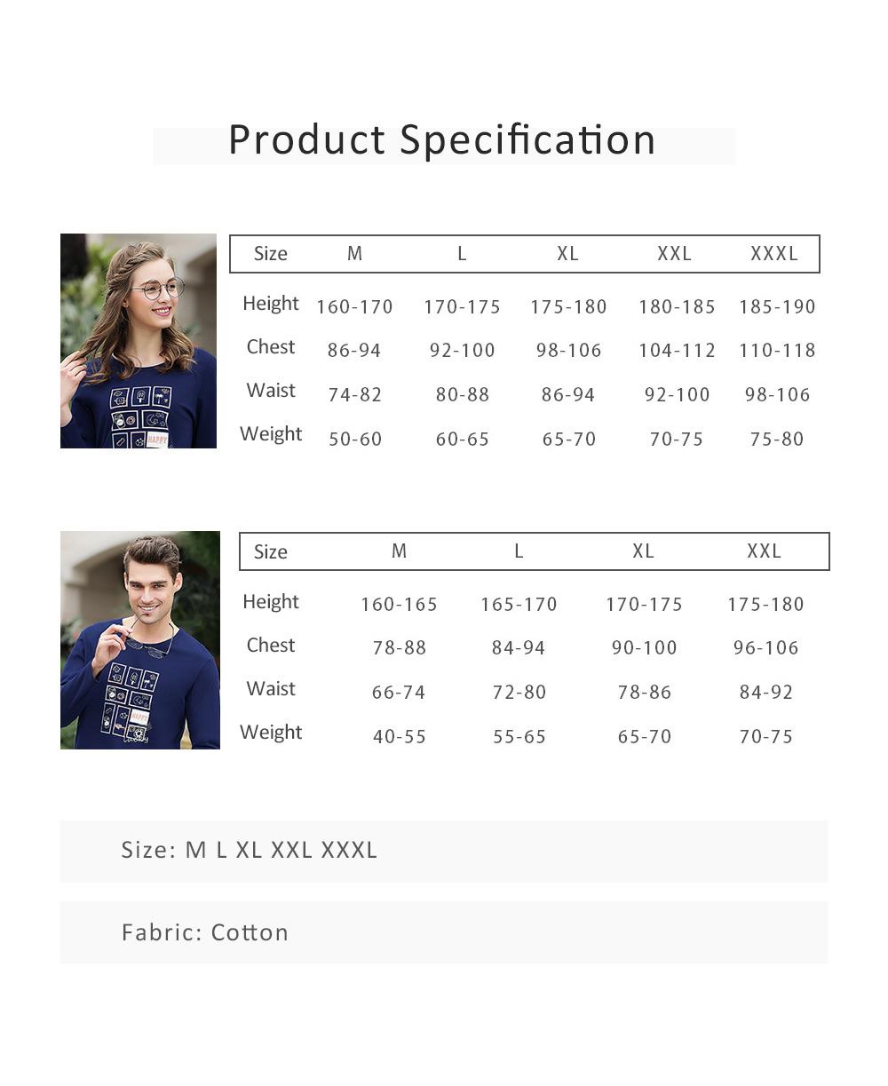 Pajamas Set for Couple, Long Sleeve Pajama for Autumn and Winter, 100% Cotton Homewear Set, Simple Designed Sleepwear Set 5