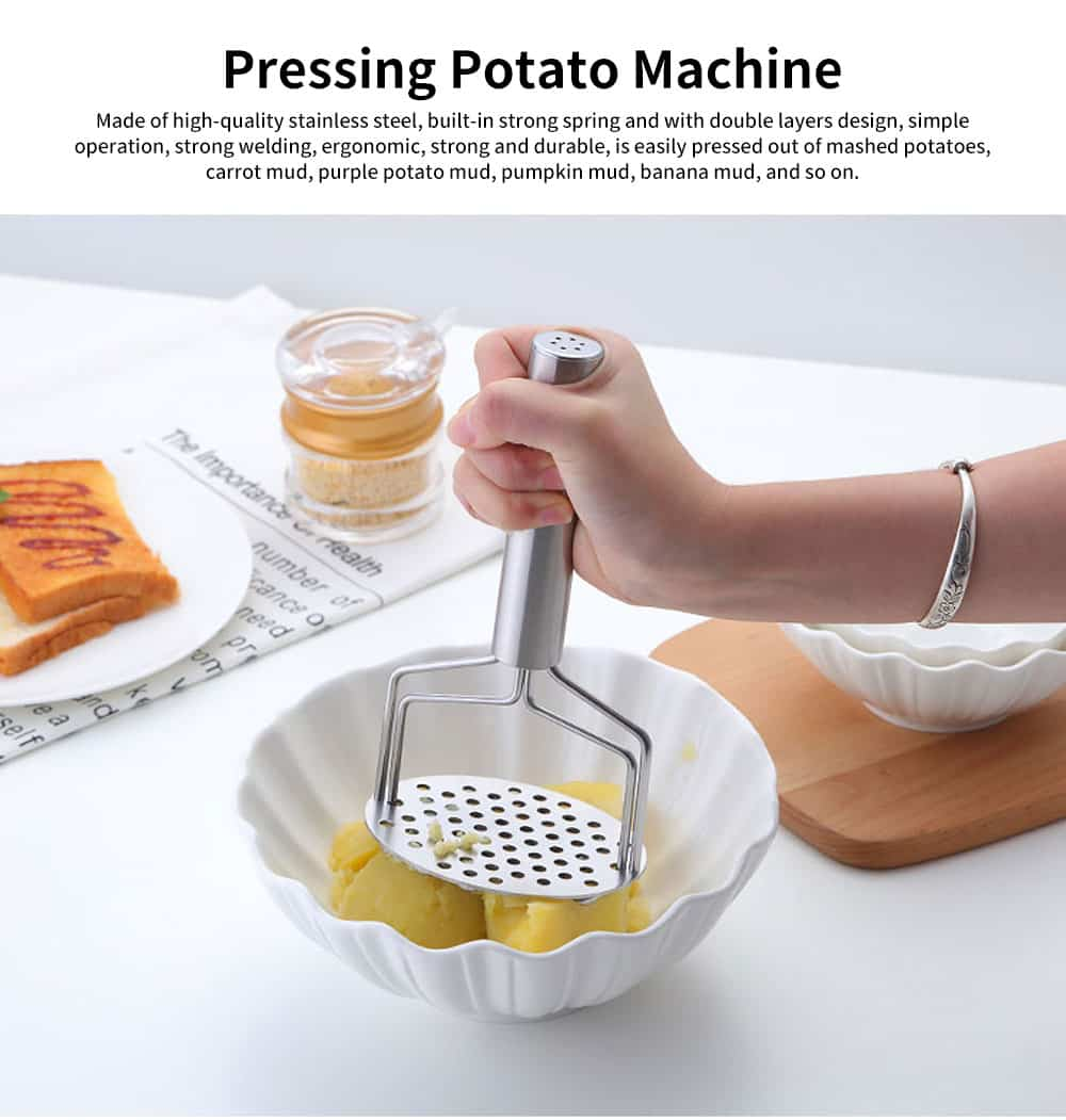 Double Layers Stainless Steel Pressing Potato Machine, Household Creative Fruit Mud Presser with Built-in Strong Spring 0