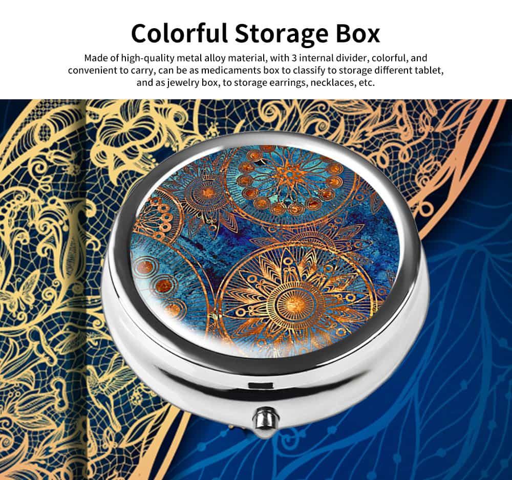 Portable Mini Portable Pill Box, Colorful Unique Pattern Storage Case for Health Care Product 0