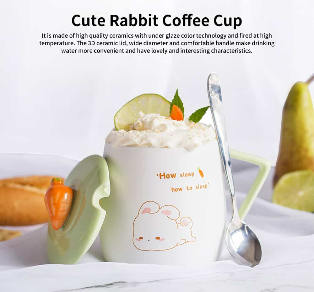Cute Rabbit Coffee Cup, Korean Version with Cover Scoop Mug, Creative Trend Ceramic Cup 0