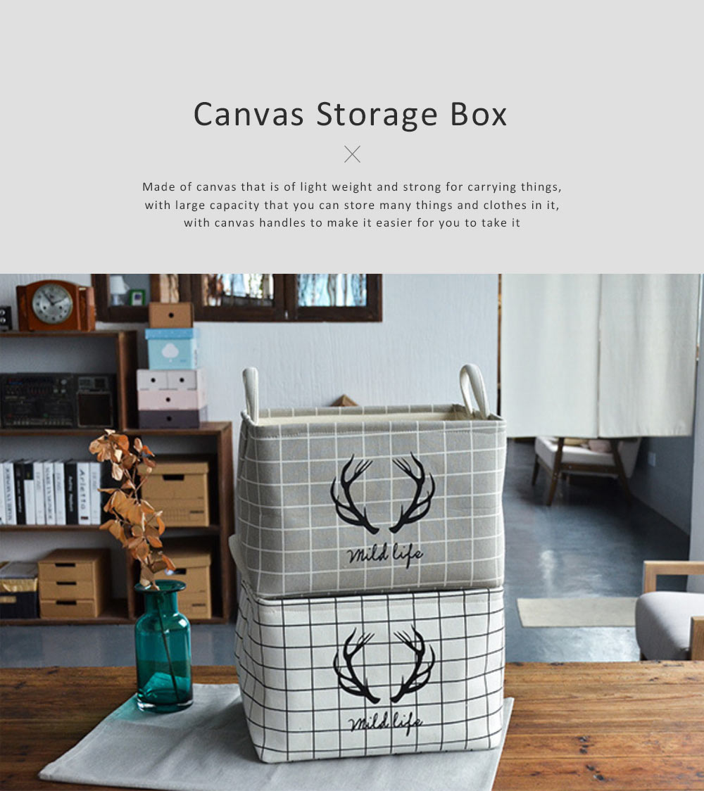 Canvas Storage Box, Foldable Storage Box for Toys, Kids Room, Clothes, Thickened Fabric Organizer with Handle 0