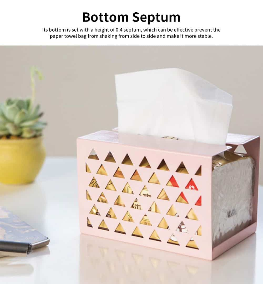 Thickened Iron Simple Tissue Box, Creative Hollow Paper Towel Container, Home, Office, Shop Essential 2