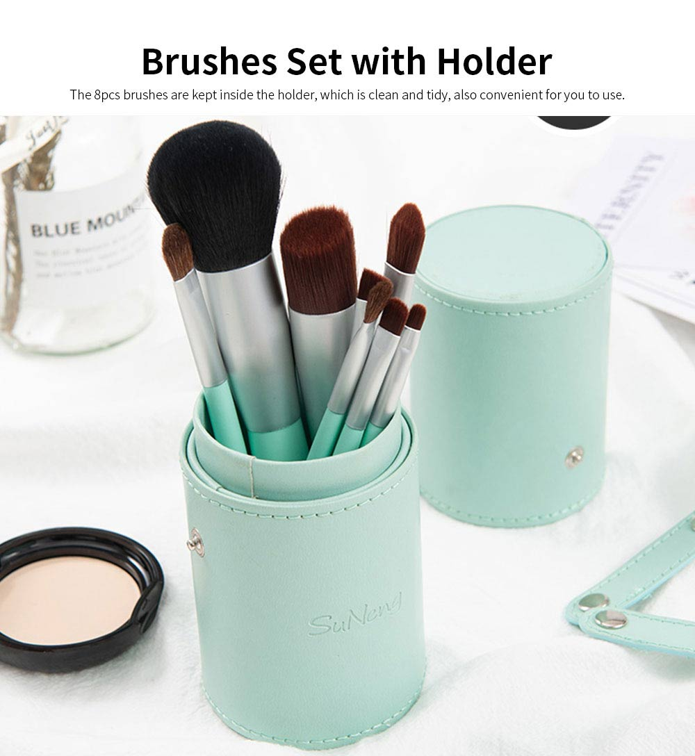 8 pcs Makeup Brushes Set with Holder, Soft Cosmetic Brush Tool for Makeup with Storage Case 1