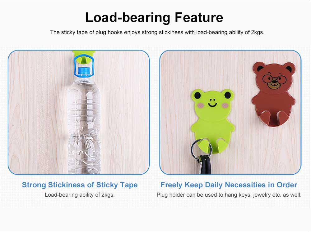 Cartoon Animal Plug Holder for Kitchen Power Supply Sticky Hook for Plug Lovely Animal Shape Wall-mounted Sticky Plug Holder Household Plug Storage Helper 5