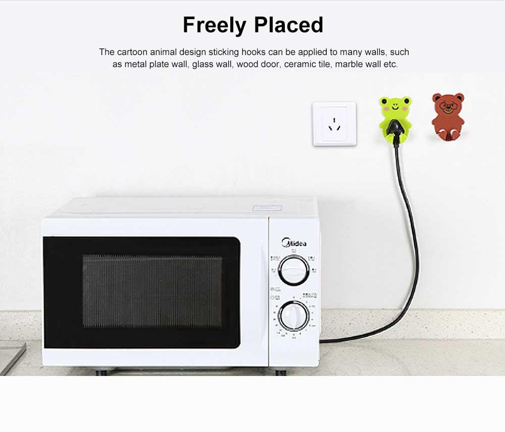 Cartoon Animal Plug Holder for Kitchen Power Supply Sticky Hook for Plug Lovely Animal Shape Wall-mounted Sticky Plug Holder Household Plug Storage Helper 3