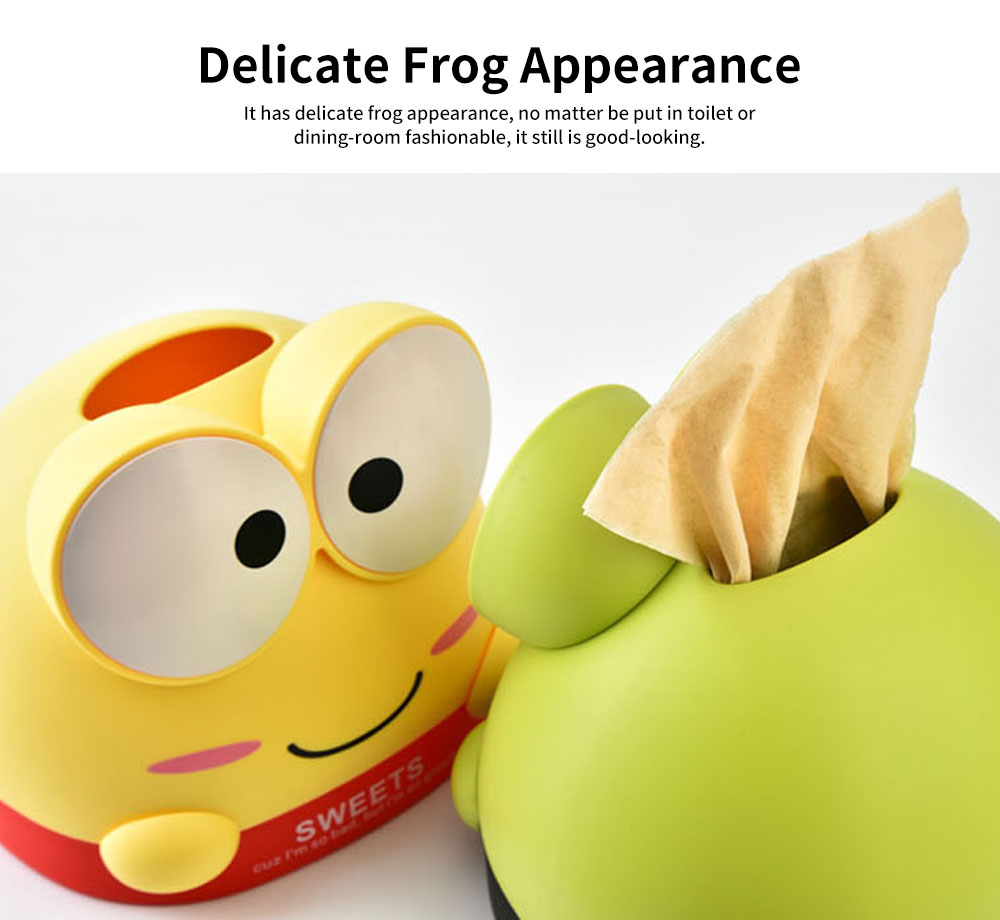 Cute Cartoon Frog Paper Towel Container, Environment-friendly Wheat Fiber Tissue Box, with Delicate Frog Appearance 1