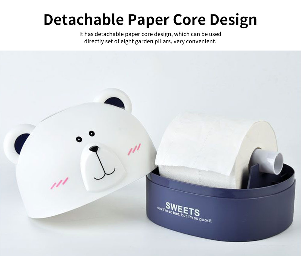 Polar Bear Environment-friendly PP Roll Paper Box, Bathroom Tissue Container, with Delicate Bear Appearance 4