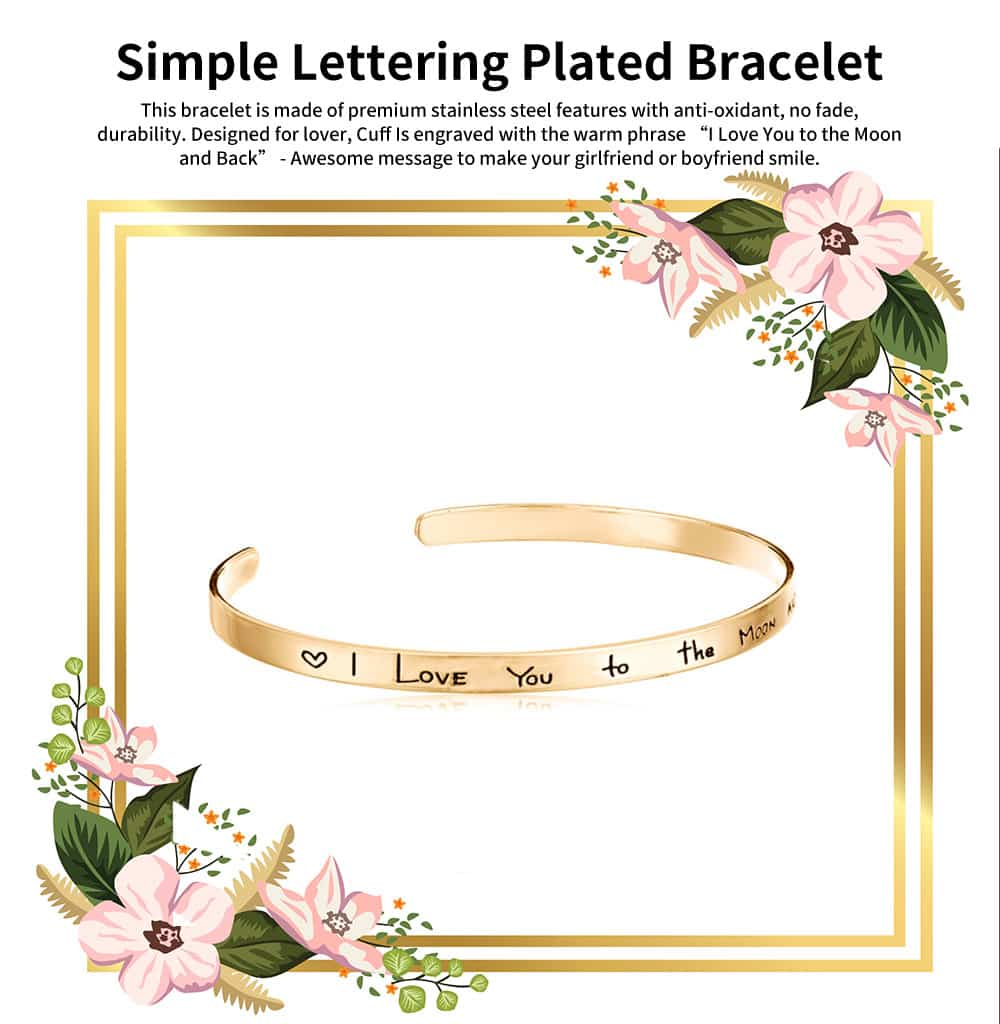 Unisex Bracelet Lady Simple Lettering Plated Stainless Steel Bangle Fashion Jewelry Accessories Elegant Lover Bracelets Valentines Gift For Girlfriend Boyfriend 0