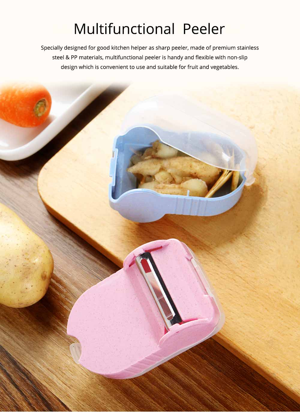 Multifunctional Peeler Knife with Storage , Portable Vegetable Potato Fruit Peeler, Kitchen Cut Tools 0
