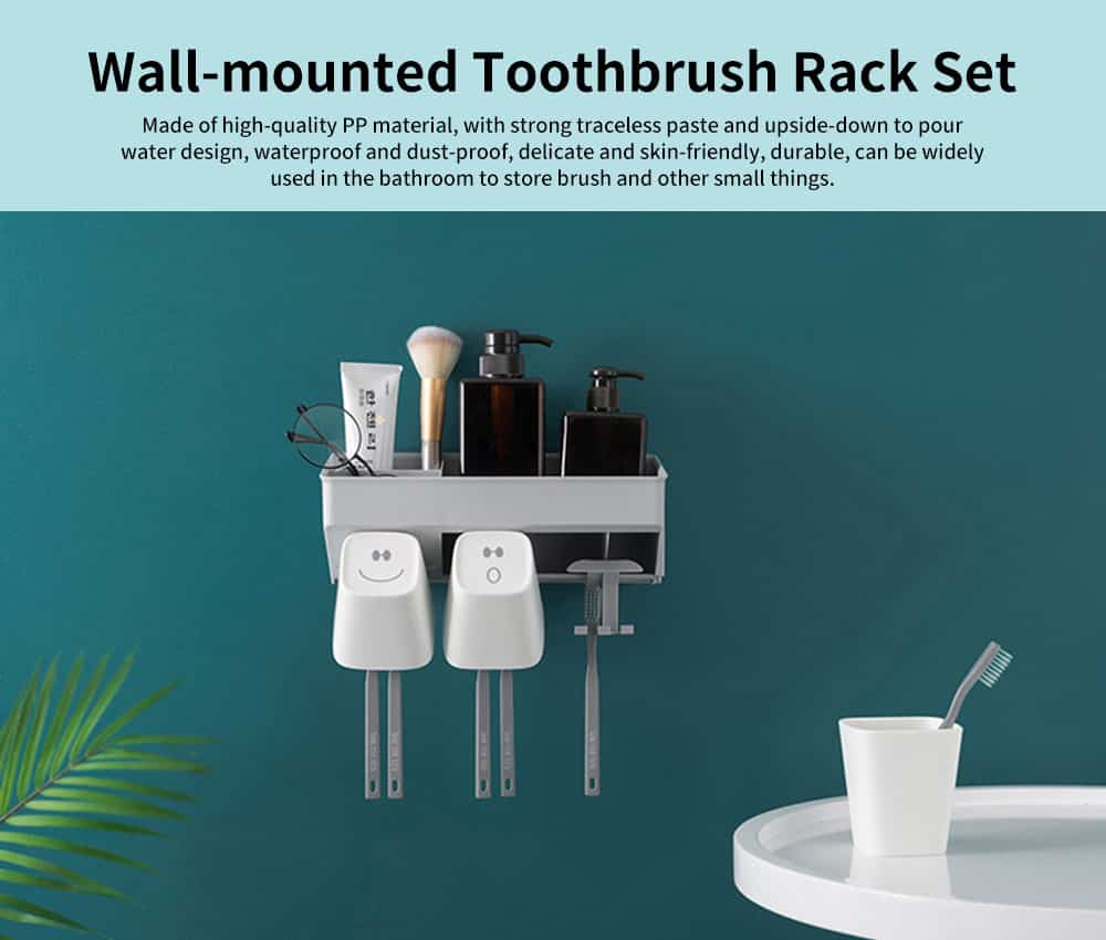 Wall-mounted Toothbrush Rack Set, High-quality PP Punch-Free Brushing Cup Holder, with Smiley Face Shape 0