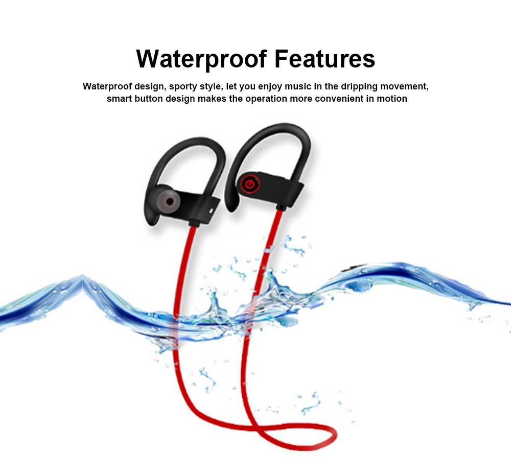 New U8 Wireless Bluetooth Headset, Hanging Ear Running Universal Headphone, Waterproof Earphone 1