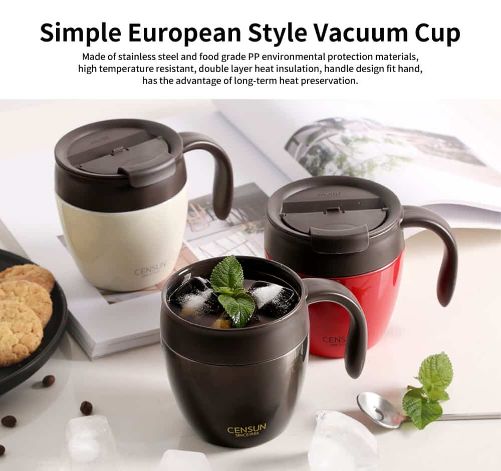Continental Breakfast Coffee Mug, Simple Mug, Insulated Mug with Covered Spoon 0