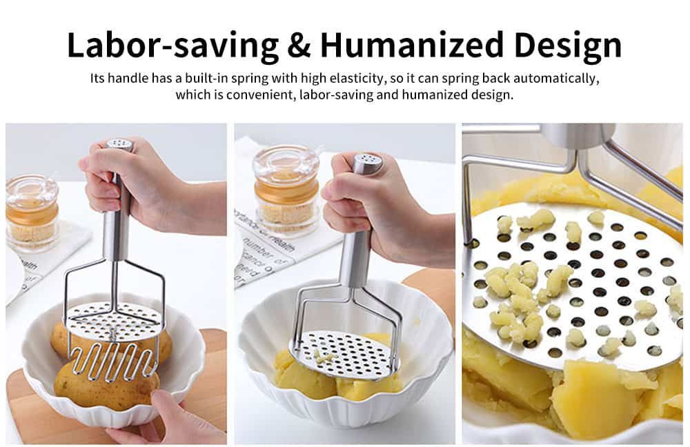 Double Layers Stainless Steel Pressing Potato Machine, Household Creative Fruit Mud Presser with Built-in Strong Spring 4