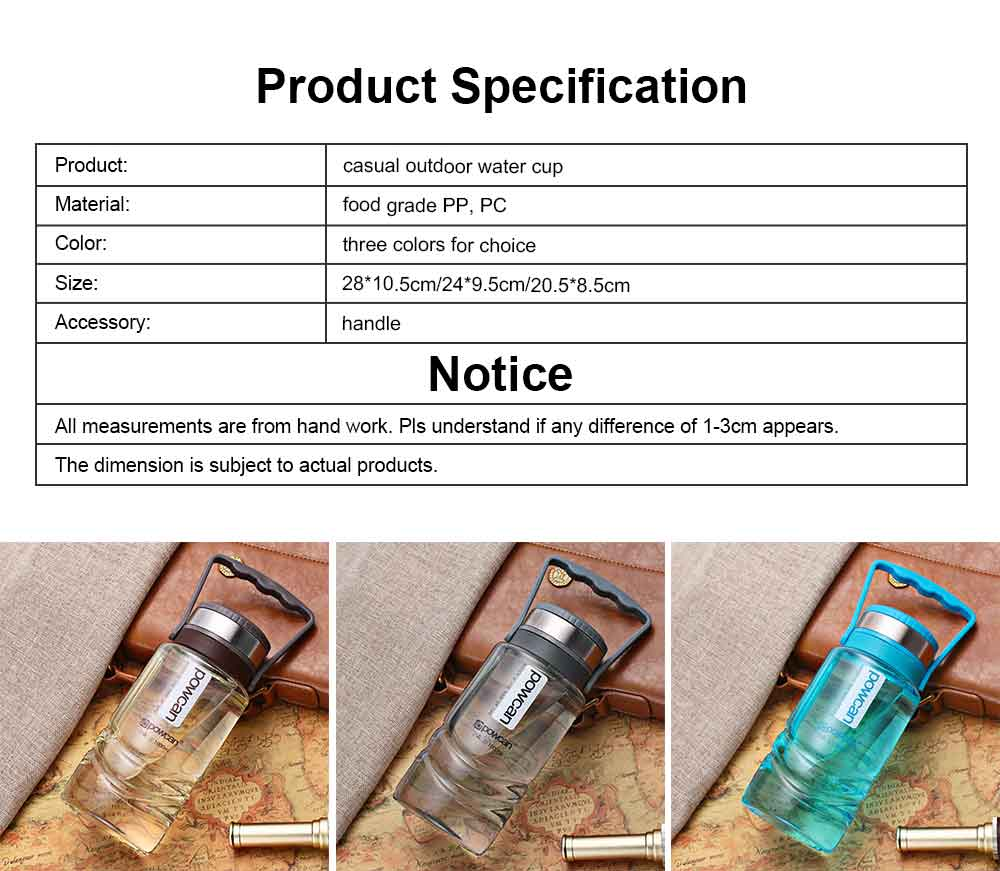 Plastic Space Bottle for Outdoor Sports Super Large Capacity Water Cup Big Size Sports Use Water Cup Brand Powcan Capacity 1000/1500/2000ml 7