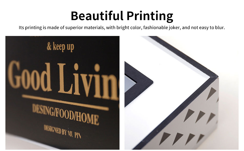 Nordic Simple Style Box, Wooden Paper Towel Storage Container, with Opening to Pull Design and Beautiful Printing 3