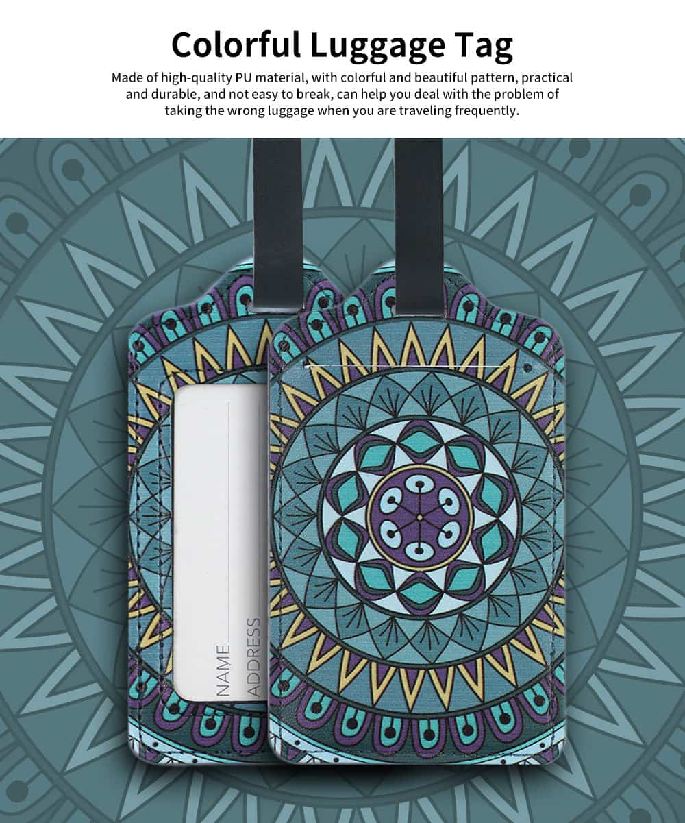 Colorful Special Pattern Luggage Tag, Selected PU Material Baggage Card for Traveler with Colorful Special Pattern 0