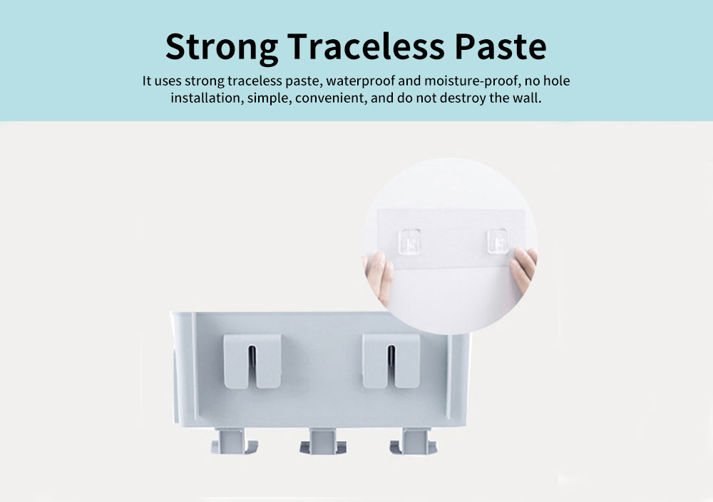 Wall-mounted Toothbrush Rack Set, High-quality PP Punch-Free Brushing Cup Holder, with Smiley Face Shape 2