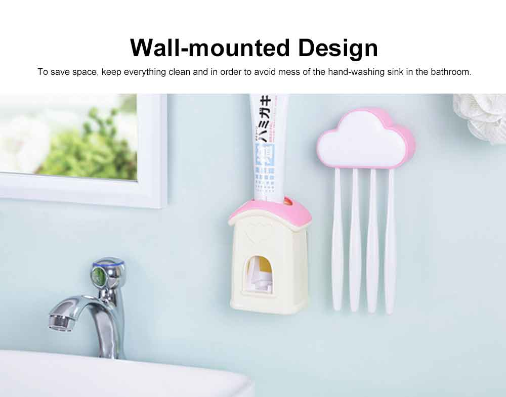 Self-driven Toothpaste Dispenser Lovely Automatic Squeezer Set Anti-dust Stylish Toothbrush Shelf Wall-mounted Storage Shelf No Drilling in Bathrooms 1