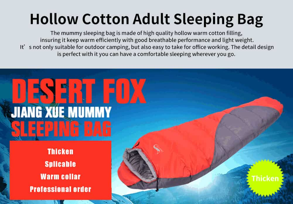 Thicken Hollow Cotton Adult Sleeping Bag, Outdoors Camping Hiking Essential Warm Sleeping Bag 0