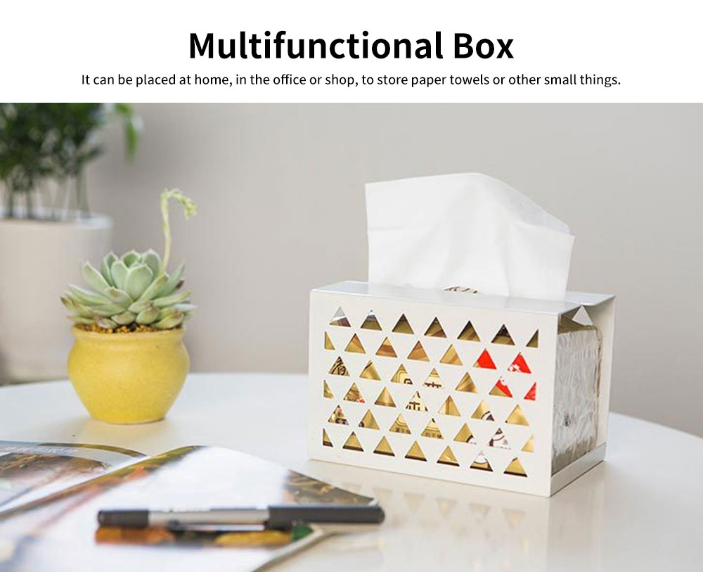 Thickened Iron Simple Tissue Box, Creative Hollow Paper Towel Container, Home, Office, Shop Essential 4