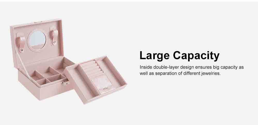 Double-layer Jewel Box for Jewelries of Ear Rings Small Size Ear Studs Jewelry Case for Necklace Finger Rings PU-made Jewelry Storage Box 4