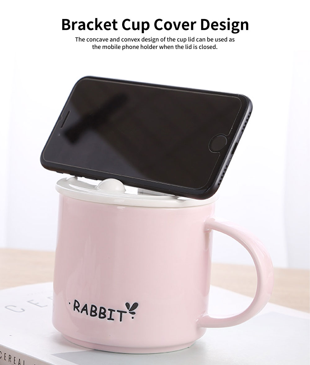 Office Creative Ceramic Cup, Ladies Cup with Spoon Cover, Home Milk Breakfast Coffee Cup 4