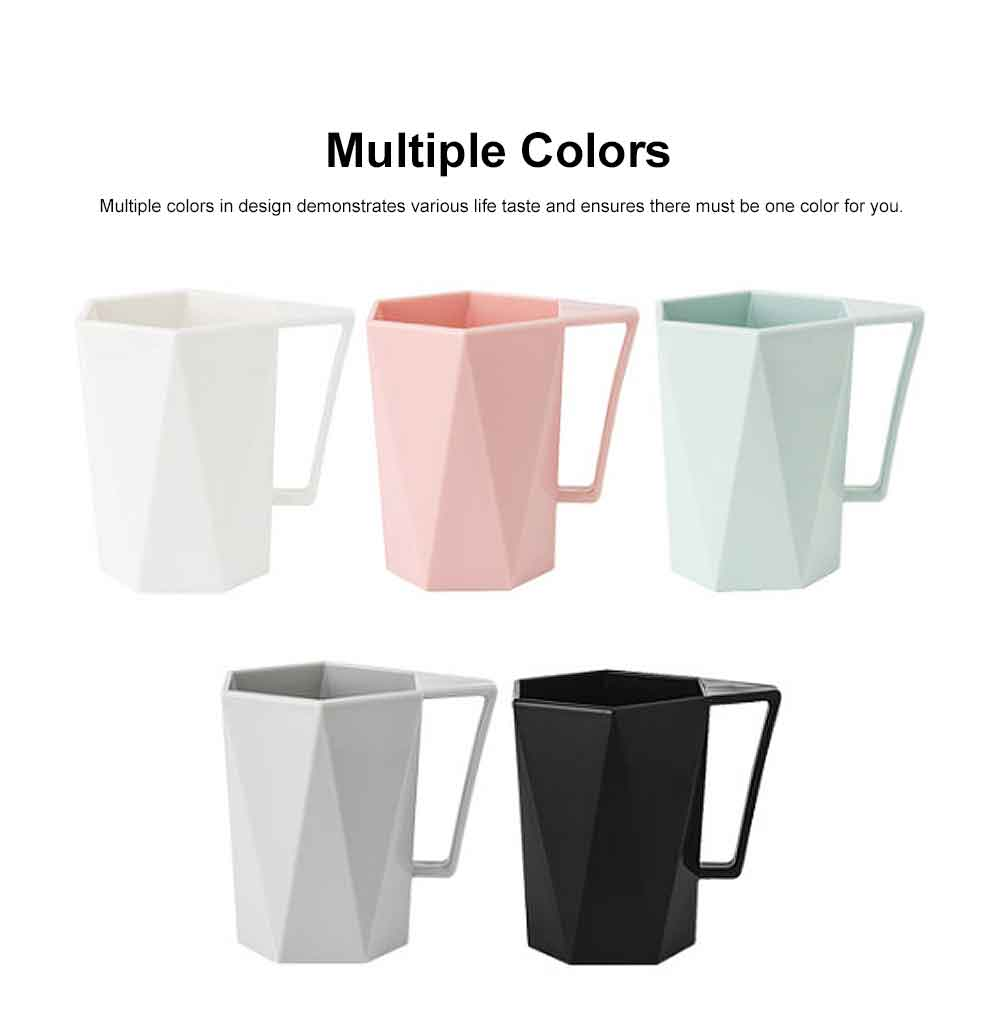 Stylish Geometric Cup with Handle for Toothbrush Simple Household Water Cup Couple Style Cup Plastic Cup 5