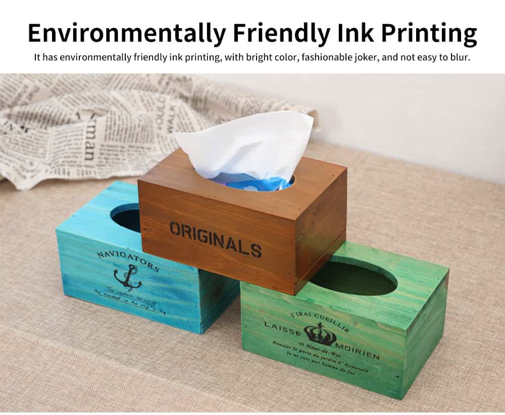 Environmentally Friendly Ink Printing Vintage Wood Tissue Box, Wooden Paper Towel Storage Container, Home, Office, Shop Essential 5