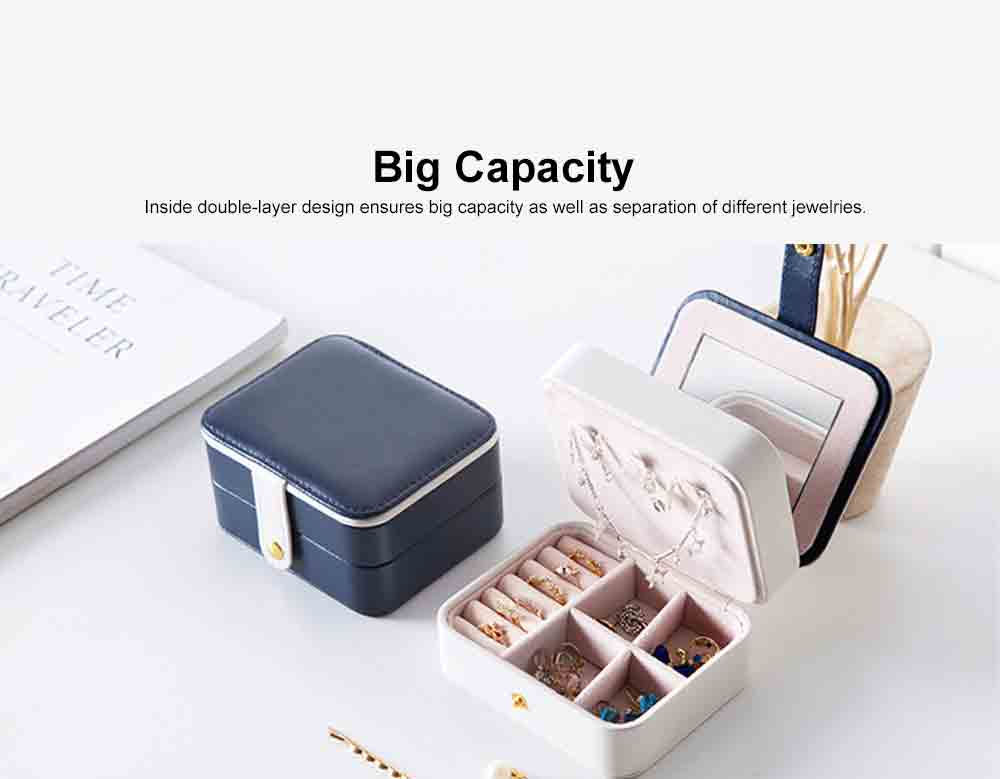 Portable Jewel Box for Jewelries of Ear Rings Small Size Ear Studs Jewelry Case for Necklace Finger Rings 4